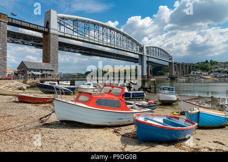Saltash Cornwall England July 12, 2018 The Tamar bridges seen from the Cornish side of the river Tamar estuary - Stock Photo