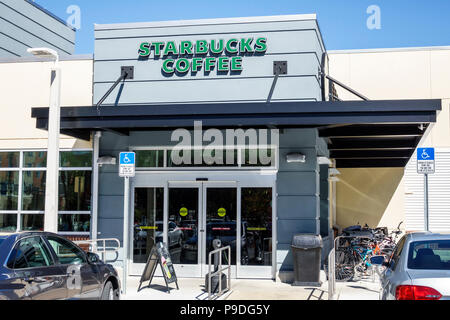 Florida Gainesville Starbucks Coffee coffeehouse front entrance exterior disabled parking space - Stock Photo