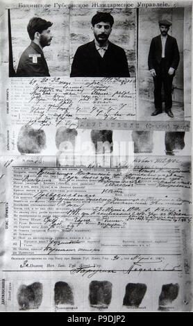 The information card on J. Jugashvili (Stalin) from the files of the Tsarist secret police in Baku. Museum: State Central Museum of Contemporary History of Russia, Moscow. - Stock Photo