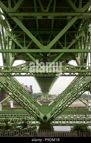 Underneath the Silver Jubilee roadbridge at Runcorn in Cheshire looking towards Widnes - Stock Photo