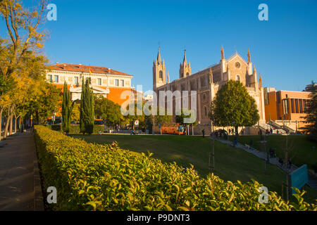San Jeronimo El Real church and Real Academia de la Lengua Española building. Madrid, Spain. - Stock Photo