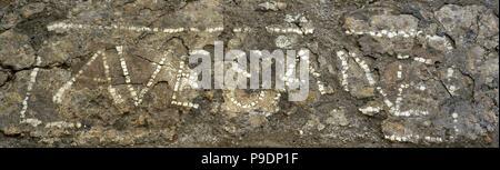 Roman Era. High Empire. Fragment of pavement with welcome inscription. Fragment of a pavement of Opus Signinum with the epigraph 'Ave Salve'. Port quarry, Tarragona, Spain. National Archaeological Museum. Tarragona. Spain. - Stock Photo