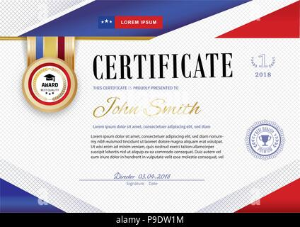 Official white certificate with red violet ribbons and education design elements, graduatioin cap, cup. Clean modern design.. Afstract background. Sheet in a cage. Colors of American flag and stars - Stock Photo