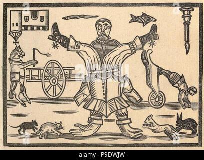 vintage woodcut illustration - Stock Photo