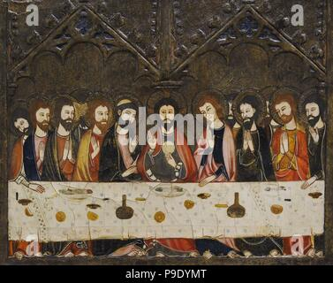 Master of Vallbona de les Monges (Guillem Seguer?), 14th century. Altarpiece of Corpus Christi, ca.1335-1345. Detail depicting the Last Supper. From the Chapel of Corpus Christi. Church of the Monastery of Santa Maria de les Monges, Lleida province. National Art Museum of Catalonia. Barcelona. Catalonia. Spain. - Stock Photo
