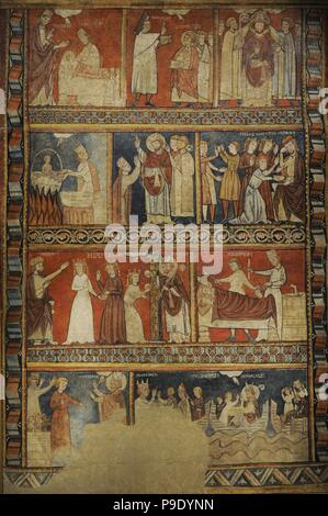 Second Master of Bierge. Scenes of the Life of Saint Nicholas, end of 13th century. Fresco transferred to canvas. From the mural decoration  of the north wall of parish church of Saint Fructuosus. Bierge (Huesca, Spain). National Art Museum of Catalonia. Barcelona. Catalonia. Spain. - Stock Photo