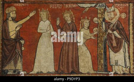 Second Master of Bierge. Scenes of the Life of Saint Nicholas, end of 13th century. Detail depicting St. Nicholas throwing gold coins to the window of a ruined hidalgo to avoid prostituting his daughters. Fresco transferred to canvas. From the mural decoration  of the north wall of parish church of Saint Fructuosus. Bierge (Huesca, Spain). National Art Museum of Catalonia. Barcelona. Catalonia. Spain. - Stock Photo