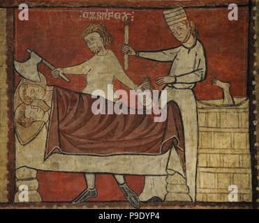 Second Master of Bierge. Scenes of the Life of Saint Nicholas, end of 13th century. Detail depicting an innkeeper dismembering three children. Fresco transferred to canvas. From the mural decoration  of the north wall of parish church of Saint Fructuosus. Bierge (Huesca, Spain). National Art Museum of Catalonia. Barcelona. Catalonia. Spain. - Stock Photo