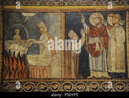 Second Master of Bierge. Scenes of the Life of Saint Nicholas, end of 13th century. Detail depicting a  crazy mother cooking her son. The saint forgives her and resurrects the child. Fresco transferred to canvas. From the mural decoration  of the north wall of parish church of Saint Fructuosus. Bierge (Huesca, Spain). National Art Museum of Catalonia. Barcelona. Catalonia. Spain. - Stock Photo