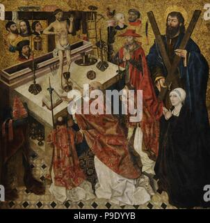 Diego de la Cruz (documented between 1482-1495). The Mass of Saint Gregory, before 1480. From the Monastery of Fredesval (Burgos province). National Art Museum of Catalonia. Barcelona. Catalonia. Spain. - Stock Photo
