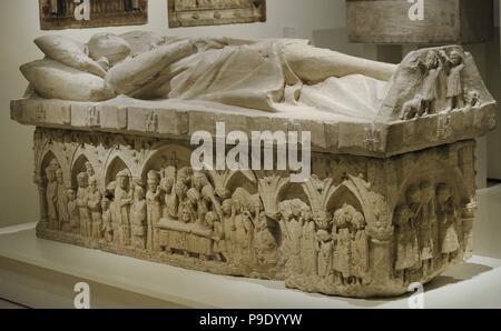 Anonymous. Castile. Sepulchre of a nobleman of the Tellez de Meneses family, ca.1300. From the Monastery of Santa Maria de Matallana, Valladolid. National Art Museum of Catalonia. Barcelona. Catalonia. Spain. - Stock Photo