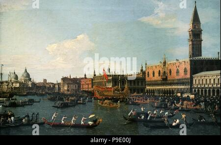 Canaletto (Giovanni Antonio Canal) (1697-1768). Italian painter. Return of Il Bucintoro on Ascension Day, 1745-1750. National Art Museum of Catalonia. Barcelona. Catalonia. Spain. - Stock Photo