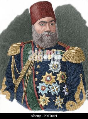 Osman Nuri Pasha, also Gazi Osman Pasha (1832-1900). Ottoman Turkish field marshal and the hero of the Siege of Plevna in 1877. Portrait. Engraving. Colored. - Stock Photo