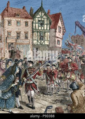 American Revolutionary War (1775-1783). Boston. Citizens hostile with the British soldiers. Engraving. 19th century. Colored. - Stock Photo