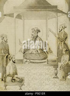 Shah Jahan I (1592-1666). Fifth Mughal Emperador who reigned from 1628-1658. He commissioned many monuments, the best known of which is the Taj Mahal in Agra, which entombs his wife Mumtaz Mahal. Sha Djahan giving a seat to Dara Shikoh (1615-1659), his eldest son. India. Engraving by Vernier. Lemaitre direxit. 'Panorama Universal, India', 1845. - Stock Photo