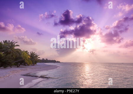 Perfect tropical beach sunset. Beach banner in sunset time. Calm and tranquil exotic nature landscape. Inspirational beach scene - Stock Photo