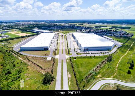 Orlando Davenport Florida vacant industrial park warehouses warehouse aerial overhead bird's eye view above - Stock Photo