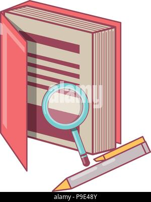book with magnifying glass and pen icon over white background, vector illustration Stock Photo