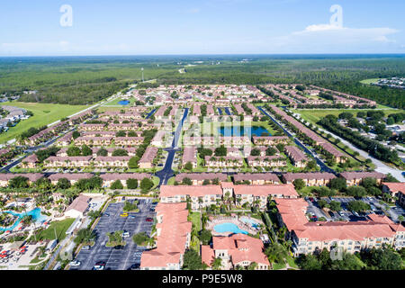 Orlando Davenport Florida Welcome Homes USA Regal Palms Resort Bella Piazza Resort Island Club West residential neighborhood aerial overhead bird's ey - Stock Photo