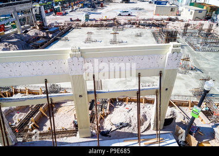 Miami Beach Florida Art Deco Design District architecture preservation under construction site aerial overhead bird's eye view above - Stock Photo