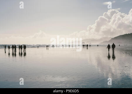 People walking on a vast open beach at low tide standing in shallow water, reflections and shadows on the water surface. - Stock Photo