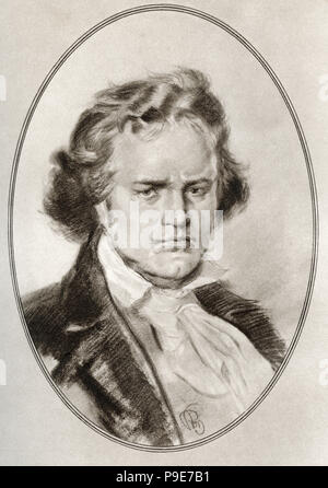 Ludwig van Beethoven, 1770 - 1827.  German composer and pianist.   Illustration by Gordon Ross, American artist and illustrator (1873-1946), from Living Biographies of Great Composers. - Stock Photo