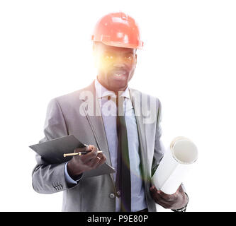 African American businessman in a helmet on a white background - Stock Photo