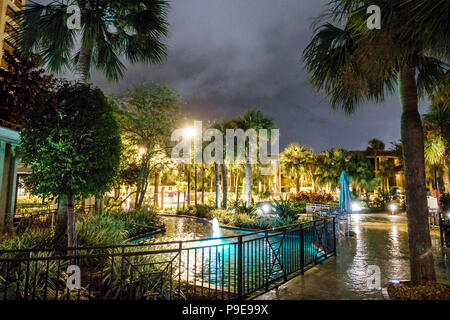 Orlando Florida Doubletree by Hilton Orlando SeaWorld hotel property grounds fountain landscaping - Stock Photo