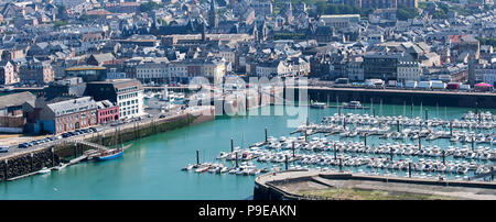Aerial view over the harbour with pleasure boats and sailing yachts in the city Fécamp, Seine-Maritime, Normandy, France - Stock Photo