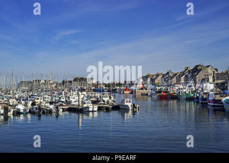 Pleasure boats and fishing boats / trawlers in the harbour of Saint-Vaast-la-Hougue, Manche department, Normandy, France - Stock Photo