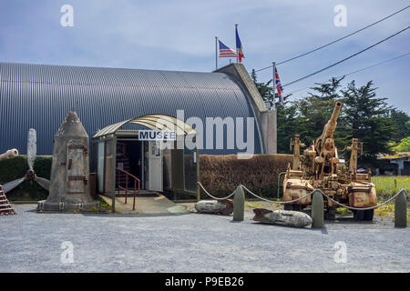 Entrance of the World War Two D-Day Omaha Museum at Vierville-sur-Mer, Calvados, Normandy, France - Stock Photo