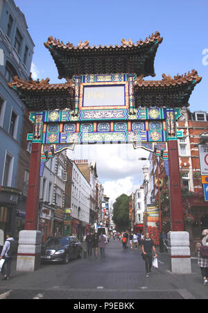 Chinatown gate at Wardour Street London - Stock Photo