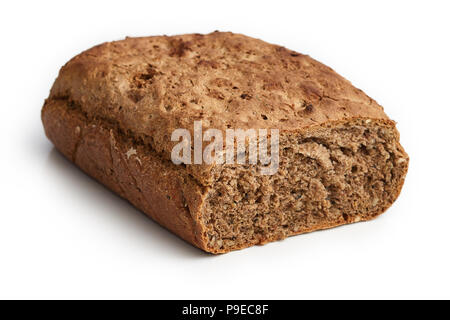 Homemade bread made with whole-wheat flour, whole rye flour, buckwheat and hemp flour, sunflower seeds, fennel seeds and walnuts isolated on white bac - Stock Photo