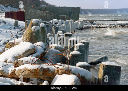 construction of coastal fortifications, construction of the sea promenade - Stock Photo