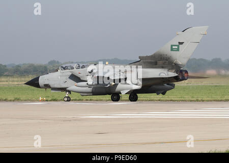 Royal Saudi Air Force Tornado IDS rolling on the RAF Coningsby runway during the combined RAF and RSAF Exercise Green Flag. - Stock Photo