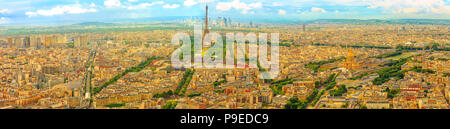 Parisian panorama aerial view of Paris skyline with the Tour Eiffel tower and national residence of the Invalids palace. Top of the Tour Montparnasse tower of Paris city, in France. - Stock Photo