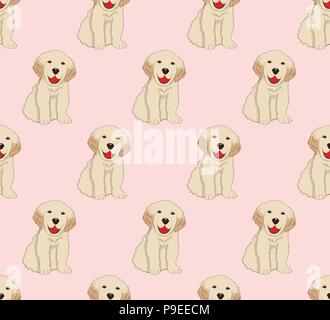 Labrador Golden Retriever Dog Seamless on Pink Background. Vector Illustration - Stock Photo