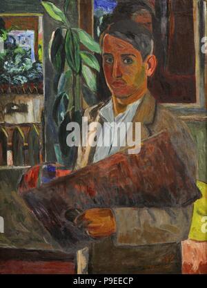 Viktoras Vizgirda (1904-1993). Lithuanian painter. Self-portrait, 1938. National Gallery of Art. Vilnius, Lithuania. - Stock Photo