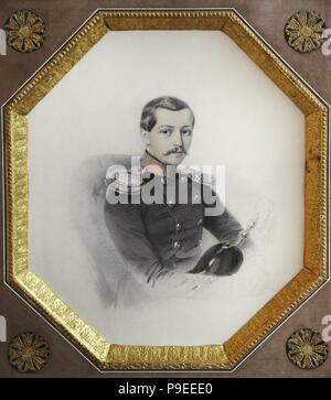 Portrait of an officer, 1852. By H. Pietzch. Vilnius Picture Gallery. Lithuania. - Stock Photo