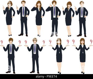Set Cartoon Business People isolated on White Background No.4. Vector Illustration. - Stock Photo
