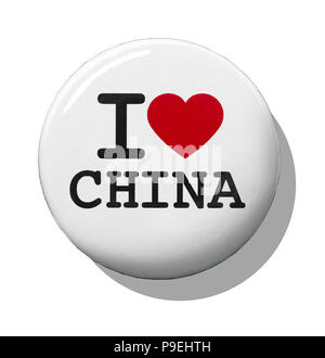 A white I love China badge - Stock Photo