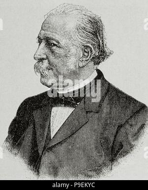 Theodor Fontane (1819-1898). German writer. Portrait. Engraving. - Stock Photo