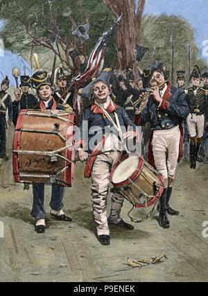 American Revolutionary War (1775-1783). Celebrating the Independence Day. Engraving by Gilbert Gaul. Colored. - Stock Photo