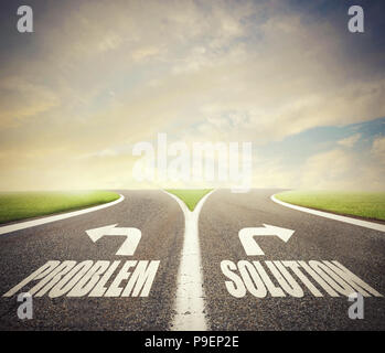 Crossroads with problem and solution way. Concept of right decision - Stock Photo