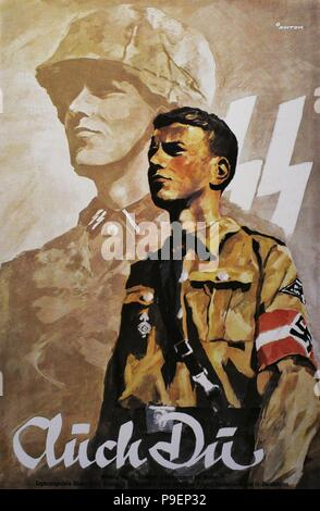 German propaganda poster to encourage young people to do military service in the Wehrmacht army. It was also addressed to young people of Upper Silesia registered in Volksliste (list of the German people in the occupied territories). - Stock Photo