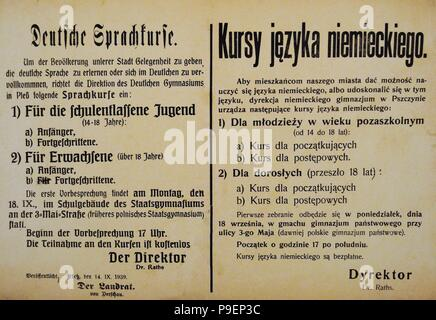History of Poland. 20th century. Although the German authorities spread the idea that the majority of the inhabitants of Upper Silesia were of German descent, they realized that Polish was the commonly used language and tried to avoid it by organizing German courses. - Stock Photo