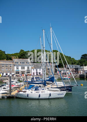 Pleasure boats and yachts moored in Padstow, Harbour, Cornwall UK  on a sunny summer day - Stock Photo
