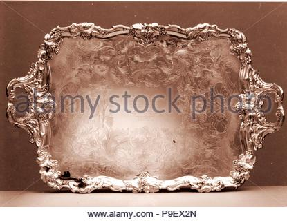 Tray, 1835–50, Made in South Yorkshire, Sheffield, England, American, Fused silver plate, 2 3/4 x 36 15/16 x 23 1/8 in. (7 x 93.8 x 58.7 cm); 293 oz. 1 dwt. (9114.4 g), Silver, James Dixon & Sons (British, founded Sheffield, 1806), This tea and coffee service was presented to Marshall Lefferts (1821–1876) upon his retirement as president of the companies that installed the first telegraph wires to link New York with Boston and Buffalo. - Stock Photo