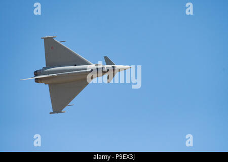 The Royal International Air Tattoo, RAF Fairford, Gloucestershire, UK.  15 July 2018.  Eurofighter Typhoon entertains the crowds at the annual event. - Stock Photo
