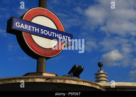 London, UK. 17th July 2018. Southgate Piccadilly Line Station temporarily renamed for 48 hours in honour of Gareth Southgate and the England team. Credit: FelixB/Alamy Live News - Stock Photo
